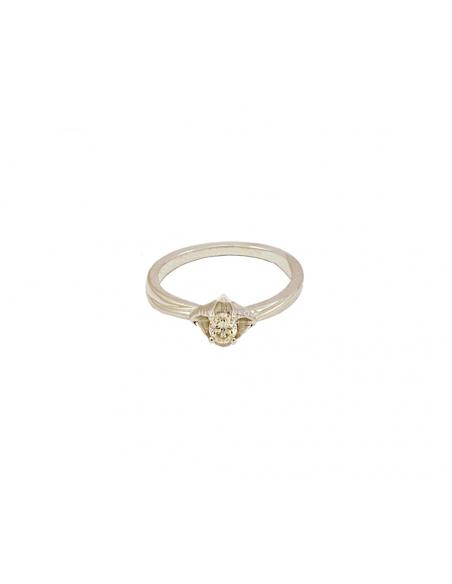 Balto aukso sužadėtuvių žiedas su briliantu pardavimui internetu