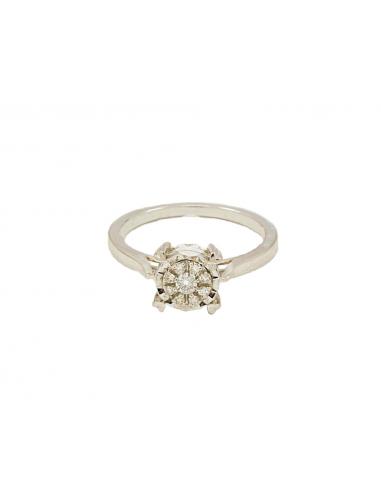 Balto aukso sužadėtuvių žiedas su deimantais pardavimui internetu