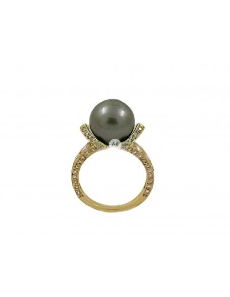 Puošnus geltono aukso žiedas su briliantais ir perlu pardavimui internetu