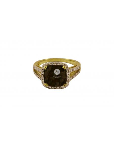 Geltono aukso žiedas su deimantais ir dūminiu kvarcu pardavimui internetu