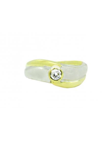 Geltono ir balto aukso žiedas su briliantu pardavimui internetu