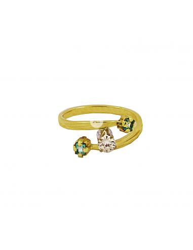 Geltono aukso žiedas su briliantu ir smaragdais pardavimui internetu