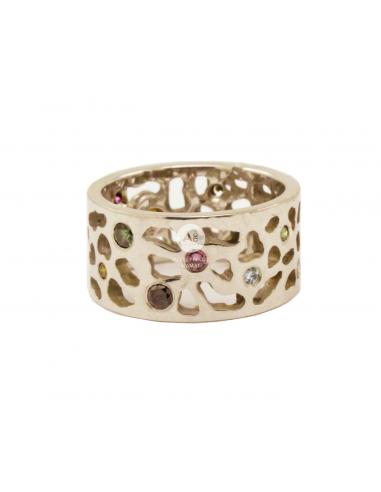 Balto aukso žiedas su briliantais ir deimantu pardavimui internetu