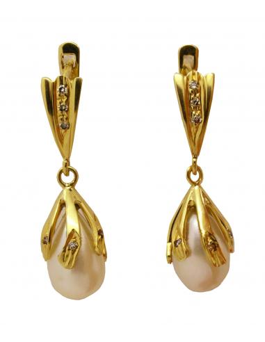 Geltono aukso auskarai su perlais ir briliantais pardavimui internetu