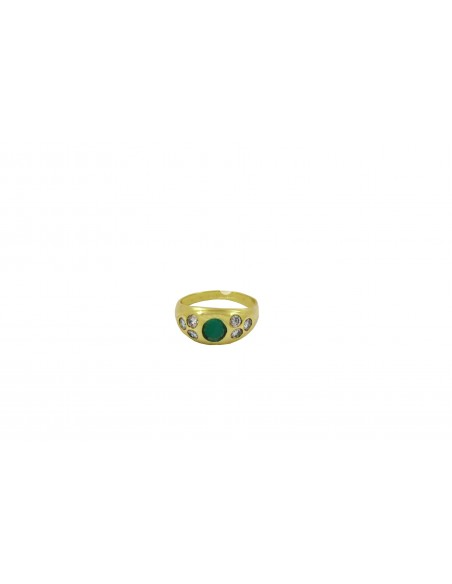 Geltono aukso žiedas su briliantais ir smaragdu pardavimui internetu
