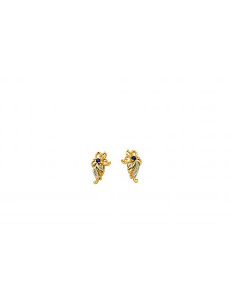 Auksiniai auskarai su safyrais ir briliantais pardavimui internetu