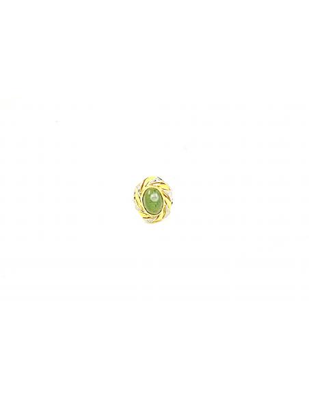 Auksinis žiedas su deimantais ir dideliu nefritu pardavimui internetu