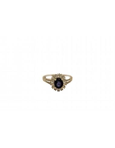 Auksinis žiedas su briliantais ir safyru pardavimui internetu
